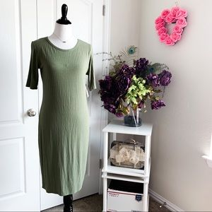 LuLaRoe Julia Ribbed Military Green Dress